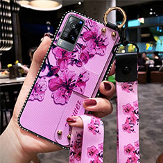 Silicone Candy Rubber Gel Flowers Soft Case Cover S02 for Vivo X60 5G Purple