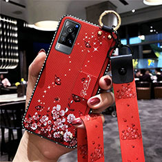 Silicone Candy Rubber Gel Flowers Soft Case Cover S02 for Vivo X60 5G Red