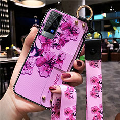 Silicone Candy Rubber Gel Flowers Soft Case Cover S02 for Vivo X60 Pro 5G Purple