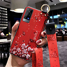 Silicone Candy Rubber Gel Flowers Soft Case Cover S02 for Vivo X60 Pro 5G Red