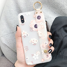 Silicone Candy Rubber Gel Flowers Soft Case Cover S03 for Apple iPhone X White