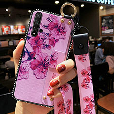 Silicone Candy Rubber Gel Flowers Soft Case Cover S03 for Huawei Nova 5T Purple