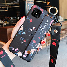 Silicone Candy Rubber Gel Flowers Soft Case Cover S03 for Oppo Reno4 Z 5G Black