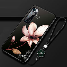 Silicone Candy Rubber Gel Flowers Soft Case Cover S03 for Xiaomi Mi 10 Ultra Brown
