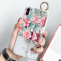 Silicone Candy Rubber Gel Flowers Soft Case Cover S04 for Apple iPhone X Green