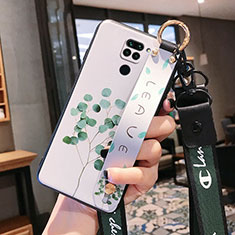 Silicone Candy Rubber Gel Flowers Soft Case Cover S04 for Xiaomi Redmi Note 9 Green