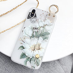 Silicone Candy Rubber Gel Flowers Soft Case Cover S05 for Apple iPhone X Green
