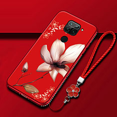 Silicone Candy Rubber Gel Flowers Soft Case Cover S05 for Xiaomi Redmi Note 9 Red Wine