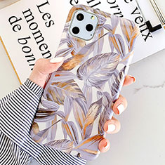 Silicone Candy Rubber Gel Flowers Soft Case Cover S09 for Apple iPhone 11 Pro Max Purple