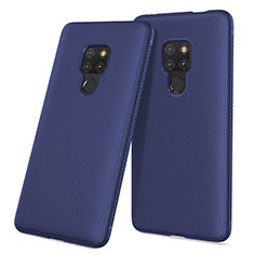 Silicone Candy Rubber Gel Twill Soft Case for Huawei Mate 20 Blue