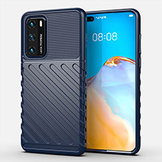 Silicone Candy Rubber TPU Line Soft Case Cover C01 for Huawei P40 Blue
