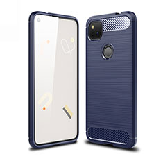 Silicone Candy Rubber TPU Line Soft Case Cover for Google Pixel 4a Blue