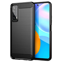 Silicone Candy Rubber TPU Line Soft Case Cover for Huawei P Smart (2021) Black