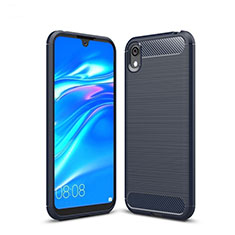 Silicone Candy Rubber TPU Line Soft Case Cover for Huawei Y5 (2019) Blue