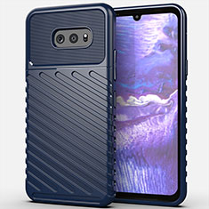 Silicone Candy Rubber TPU Line Soft Case Cover for LG G8X ThinQ Blue