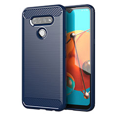 Silicone Candy Rubber TPU Line Soft Case Cover for LG K51 Blue