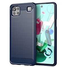 Silicone Candy Rubber TPU Line Soft Case Cover for LG K92 5G Blue