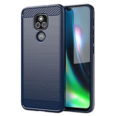 Silicone Candy Rubber TPU Line Soft Case Cover for Motorola Moto E7 Plus Blue