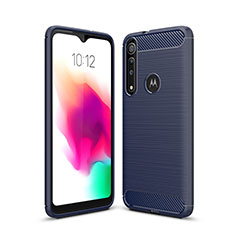 Silicone Candy Rubber TPU Line Soft Case Cover for Motorola Moto G8 Play Blue