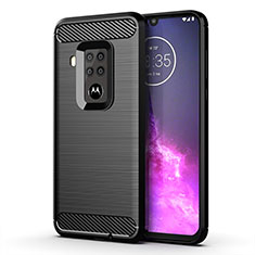 Silicone Candy Rubber TPU Line Soft Case Cover for Motorola Moto One Zoom Black