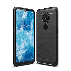 Silicone Candy Rubber TPU Line Soft Case Cover for Nokia 7.2 Black
