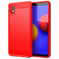 Silicone Candy Rubber TPU Line Soft Case Cover for Samsung Galaxy A01 Core Red