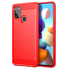 Silicone Candy Rubber TPU Line Soft Case Cover for Samsung Galaxy A21s Red