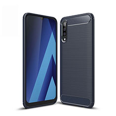 Silicone Candy Rubber TPU Line Soft Case Cover for Samsung Galaxy A50 Blue