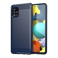 Silicone Candy Rubber TPU Line Soft Case Cover for Samsung Galaxy A51 4G Blue