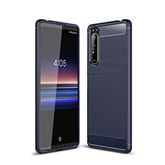 Silicone Candy Rubber TPU Line Soft Case Cover for Sony Xperia 1 II Blue