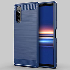 Silicone Candy Rubber TPU Line Soft Case Cover for Sony Xperia 5 Blue
