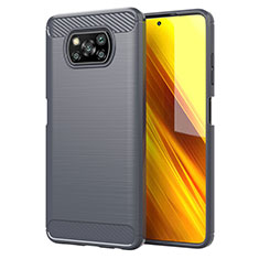 Silicone Candy Rubber TPU Line Soft Case Cover for Xiaomi Poco X3 NFC Gray