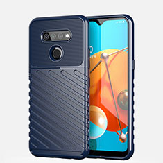 Silicone Candy Rubber TPU Line Soft Case Cover S01 for LG K51 Blue