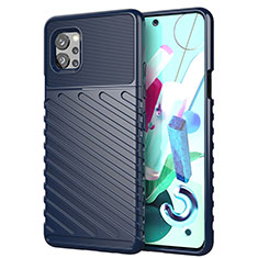 Silicone Candy Rubber TPU Line Soft Case Cover S01 for LG Q92 5G Blue