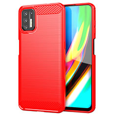 Silicone Candy Rubber TPU Line Soft Case Cover S01 for Motorola Moto G9 Plus Red