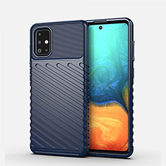 Silicone Candy Rubber TPU Line Soft Case Cover S01 for Samsung Galaxy A71 5G Blue