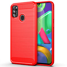 Silicone Candy Rubber TPU Line Soft Case Cover S01 for Samsung Galaxy M21 Red