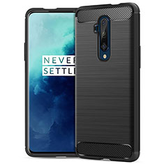 Silicone Candy Rubber TPU Twill Soft Case B02 for OnePlus 7T Pro Black