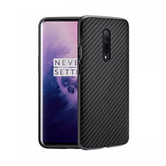 Silicone Candy Rubber TPU Twill Soft Case B02 for OnePlus 8 Black