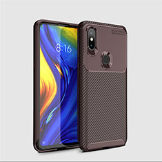 Silicone Candy Rubber TPU Twill Soft Case Cover A01 for Xiaomi Mi Mix 3 Brown