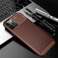 Silicone Candy Rubber TPU Twill Soft Case Cover for Apple iPhone 12 Pro Brown