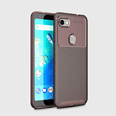 Silicone Candy Rubber TPU Twill Soft Case Cover for Google Pixel 3a Brown