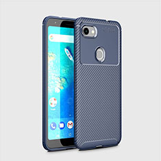 Silicone Candy Rubber TPU Twill Soft Case Cover for Google Pixel 3a XL Blue