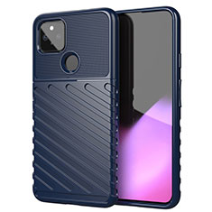 Silicone Candy Rubber TPU Twill Soft Case Cover for Google Pixel 4a 5G Blue