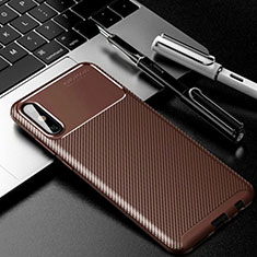 Silicone Candy Rubber TPU Twill Soft Case Cover for Huawei Enjoy 10e Brown