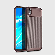 Silicone Candy Rubber TPU Twill Soft Case Cover for Huawei Enjoy 8S Brown