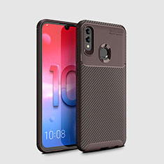 Silicone Candy Rubber TPU Twill Soft Case Cover for Huawei Honor 10 Lite Brown