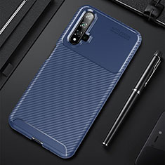 Silicone Candy Rubber TPU Twill Soft Case Cover for Huawei Honor 20 Blue