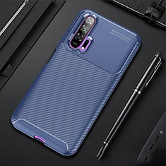 Silicone Candy Rubber TPU Twill Soft Case Cover for Huawei Honor 20 Pro Blue