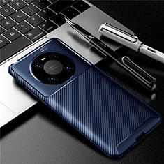 Silicone Candy Rubber TPU Twill Soft Case Cover for Huawei Mate 40 Pro Blue